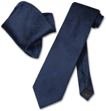 Vesuvio Napoli NAVY BLUE PAISLEY NeckTie & Handkerchief Matching Neck Tie Set