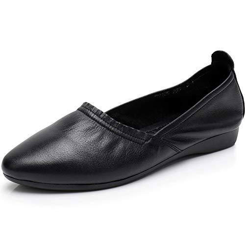 FLYRCX Los Zapatos Planos Ocasionales Casuales de la Parte Inferior Suave de la Moda Calzan los Zapatos Planos cómodos de Cuero de Las Mujeres Embarazadas Zapatos de Trabajo black