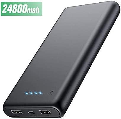 HETP Batería Externa para Móvil 24800mAH Power Bank Ultra capacidad Cargador Portátil con 2 Puertos Salidas USB Alta velocidad para Smartphone ...