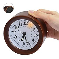 Yacig Wood Alarm Clock, Genuine Wooden Frame Non Ticking Bedside Alarm Clock with Nightlight and Snooze/Ascending Sound Alarm Thanksgiving, Brown