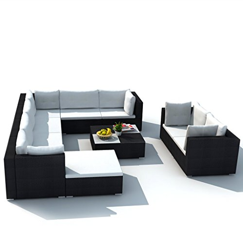 Festnight 32 Piece Garden Rattan Sofa Set Sectional Patio Furniture Set, Brown/Black