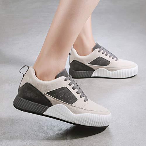 Las color 40 Mujeres Grueso Ocasionales Gray Fondo Hasta Zapatillas Tamaño Encaje Deporte Shi Zapatos Skate De Gray Dulces UwqAInB