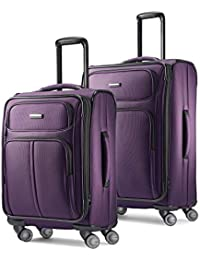 Leverage LTE Softside Expandable Luggage with Spinner Wheels, Purple, 2-Piece Set (20/25)