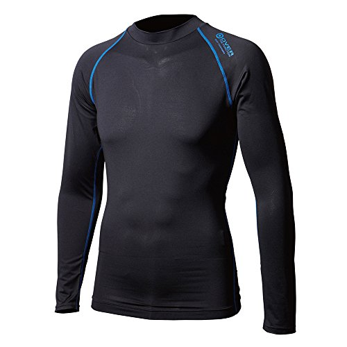文化真向こう軌道【JW-540】クルーネックシャツ 38:ブラック×ブルー LL BTアウトラスト ロングスリーブ