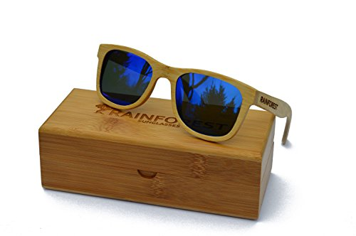 Bamboo Wood Wayfarer Sunglasses for Men and Woman - Floats in Water - Blue Polarized Lenses with UV400 Protection - REVO Mirrored TAC Lenses -  Durable, Unisex, Lightweight - Premium Designer Eyewear by Rainforest