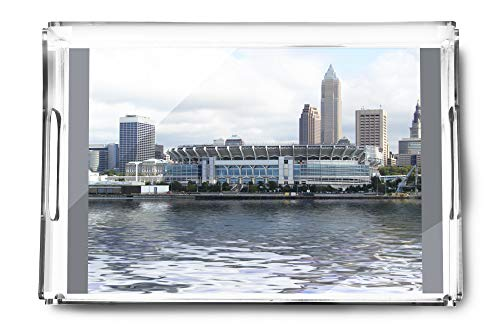 Cleveland, Ohio - First Energy Stadium with Cleveland Skyline - Photography A-92698 (Acrylic Serving Tray)
