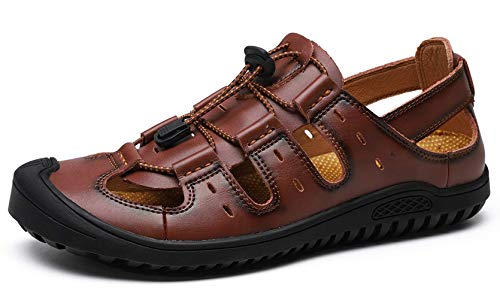 JIONS Closed Toe Leather Fisherman Mens Sandals, Men Outdoor Sport Summer Shoes (46/11 M US, C- Dark Brown)