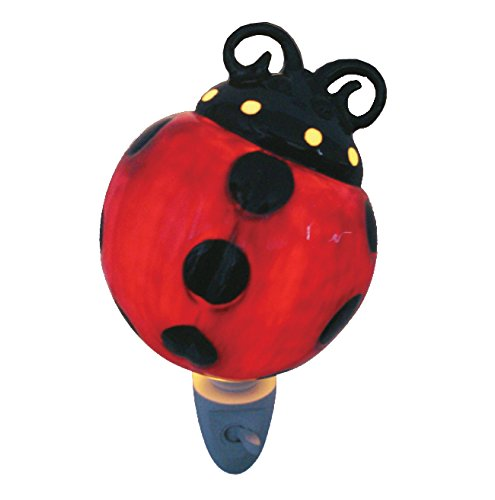 Green Pastures Wholesale Lady-Bug Porcelain Night Light, 3-Inch by 3-Inch by 4-Inch ()