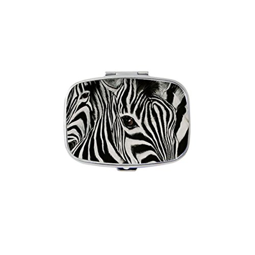 (Udoosun Zebra Print Zebra Horse Eye Custom Personlized Rectangular Tablet Medicine Pocket Purse Travel Pill Vitamin Decorative Box Case Holder)