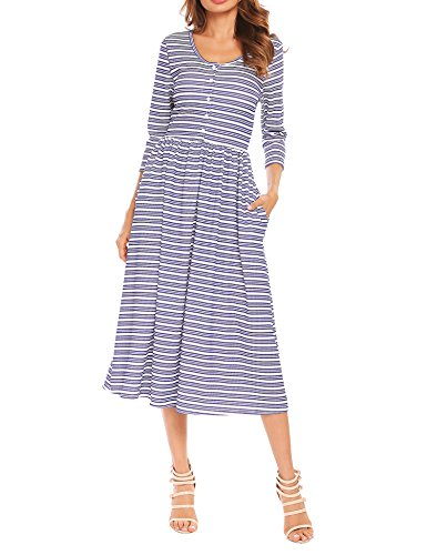 ACEVOG Women Scoop Neck 3/4 Sleeve Button Front Striped Casual Maxi Dress With Pocket (Sleeve Button Front Dress)