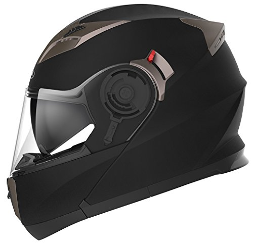 YEMA Helmet Unisex-Adult Motorcycle Modular Full Face DOT Approved-YEMA YM-925 Motorbike Street Bike Racing Helmet with Sun Visor for Men and Women (Matte Black, Large)