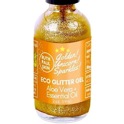 Eco Body Glitter Gel. Body Shimmer Make up Face Eyes Lips Hair. Also Glitter Face Mask. Moisturizing Aloe Vera Gel & Essential Oils. Teens, Tweens, Adults. Gold Unicorn Sparkles by Ruth Paul Skin 2oz