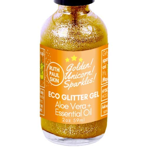 (Eco Body Glitter Gel. Body Shimmer Make Up Face Eyes Hair. Glitter Face Mask. Moisturizing Organic Aloe Vera Gel in Essential Oils. Teens, Tweens, Adults. Gold Unicorn Sparkles by Ruth Paul Skin 2oz)