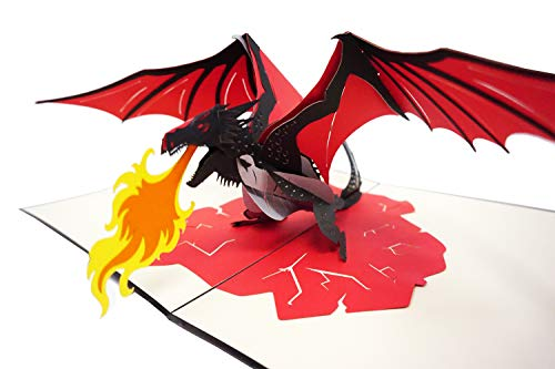 Dragon Fire Card - Special 2 Layers 3D Pop Up Card - Premium Quality - Perfect for all Occasions