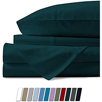 Mayfair Linen 100% Egyptian Cotton Sheets, Teal King Sheets Set, 800 Thread Count Long Staple Cotton, Sateen Weave for Soft and Silky Feel, Fits Mattress Upto 18'' DEEP Pocket