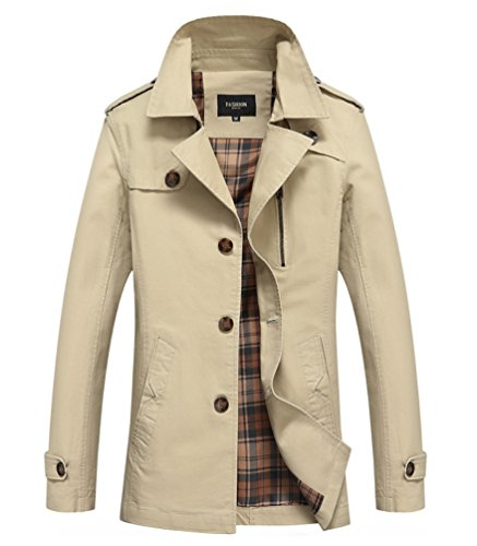 Vcansion Men's Ourdoors Windbreaker Jacket Coat Khaki - Watches Bean Mens Ll