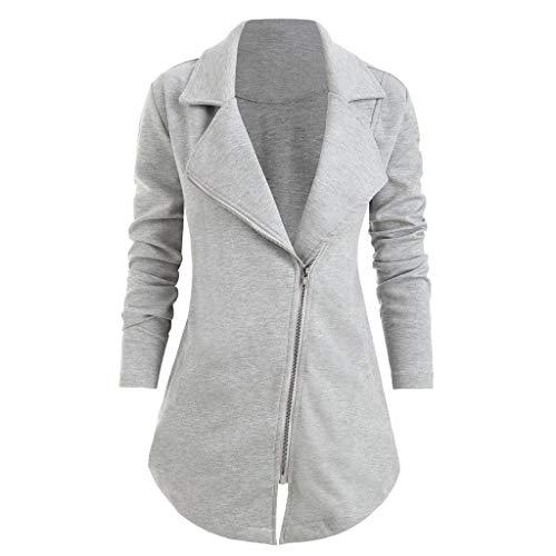 Bravetoshop Fashion Women Solid Turn Down Neck Jacket Outwear Long Sleeve Notch Zip Up Asymmetrical Coat(Gray,XXXXL)