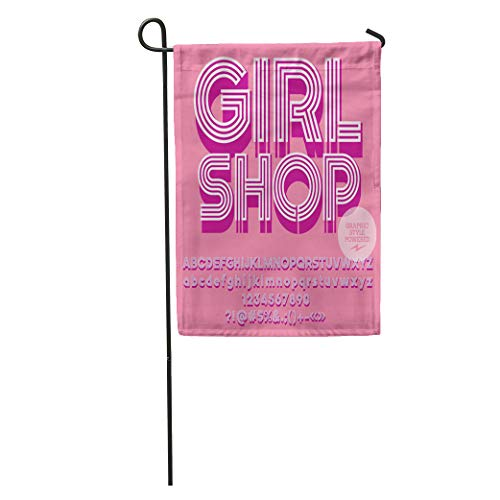Semtomn Garden Flag Lady Pink Glamour Striped Alphabet Graphic Text Girl ABC Beautiful Home Yard House Decor Barnner Outdoor Stand 28x40 Inches Flag]()
