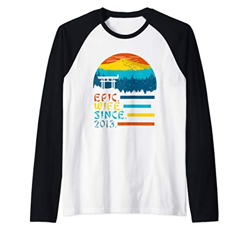 Epic Wife Since 2013, Womens 6th Anniversary Awesome Gift Raglan Baseball Tee (Best Graphic Design Schools In The World 2013)