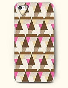 OOFIT Aztec Indian Chevron Zigzag Native American Pattern Hard Case for Apple iPhone 5 5S ( iPhone 5C Excluded ) ( Brown And Pink Tribal Triangles )