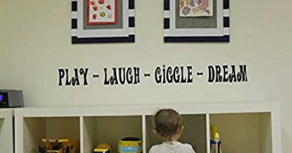 Childrens Playroom Wall Decals - Play Laugh Giggle Dream vinyl - Kids Wall Decal - Nursury & Amazon.com: Childrens Playroom Wall Decals - Play Laugh Giggle Dream ...