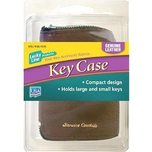 Leather Key Case, 6 Hook - Black Leather by Lucky Line