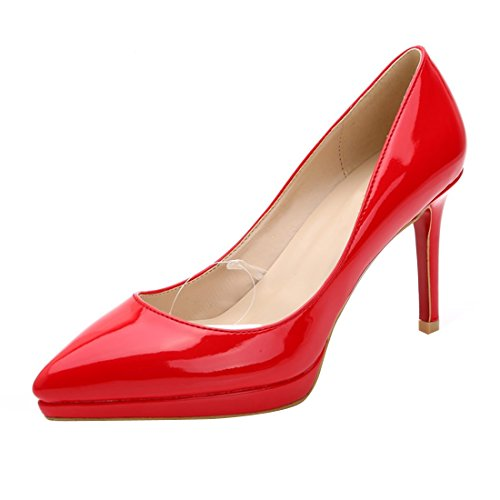 Shoes Platform Red HooH Women's Stiletto On Slip Patent Pumps Red Dress Leather Sole 7O1z10Sqn