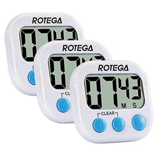 Timer Button - ROTEGA 3Pack Upgraded Digital Kitchen Timer Large LCD Display,Volume Adjustable, Back Strong Magnetic Auto Shutdown,Count-Down Up Clock, White