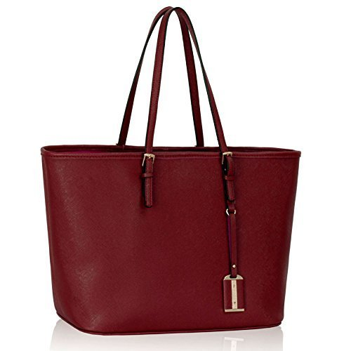 Womens Red Burgundy Large Tote Casual Slouch Bag Ladies Everyday Handbag - KCMODE