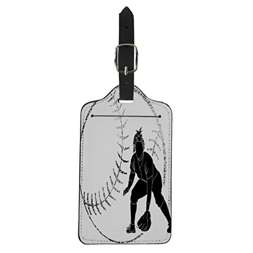 (Pinbeam Luggage Tag Girl Softball Silhouette of Fielder Bat Female Athlete Suitcase Baggage Label)