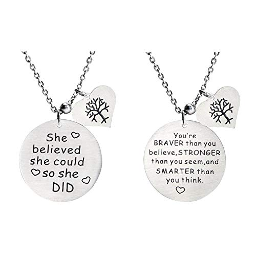 Studiocc 'You are Braver Than You Believe' + 'She Believed she Could so she did' with Heart Tree of Life Necklace