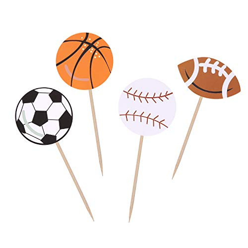 All Star Sports Cupcake Toppers Boy Birthday Party Decor Football / Baseball / Basketball / Rugby Decoration Picks - Set of 24