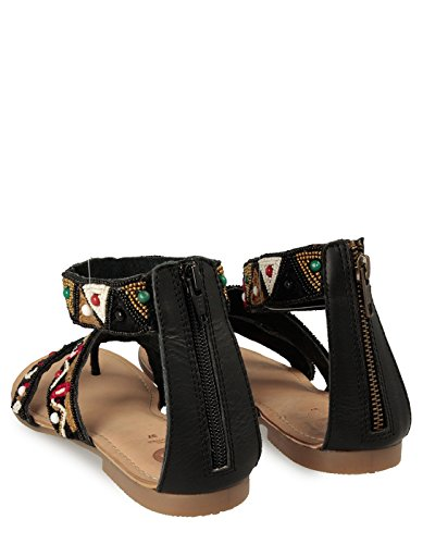 Gioseppo Ethnic Print Black Sandals Florinta by Black