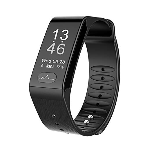 Glo buy Heart Rate Smartwatch, Watch Electrocardiogram Pulse Blood Pressure Monitor, Smart Bracelet, Fitness Bracelet, Wristband Android iOS Phone, Fitness Tracking (Blue, Black, Red),Black