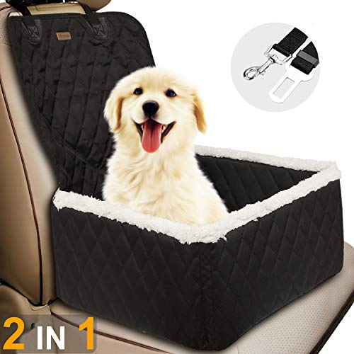 TOPBRY Car Front Seat Covers for Dogs, 2 in 1 Scratchproof Thickened Foldable Car Protector Kennel with Safety Belt, 900D Waterproof, for Cars Trucks SUVs