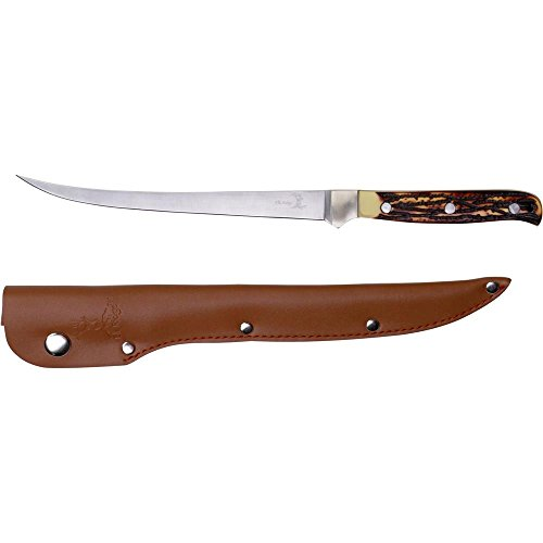 - Elk Ridge - Outdoors Fixed Blade Fillet Knife - 12.25-in Overall, 440 Stainless Steel Blade, Jig Bone Handle, Leather Sheath - Hunting, Camping, Survival - ER-146