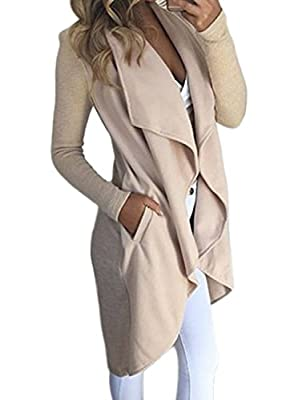 HOTAPEI Women's Winter Wide Lapel Pocket Wool Blend Coat Long Trench Coat Outwear Wool Coat