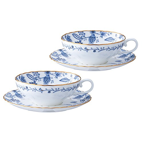 China Noritake Bone - Bone china blue Sorrentino tea porcelain bowl plate pair set P58043A/4562 (japan import)