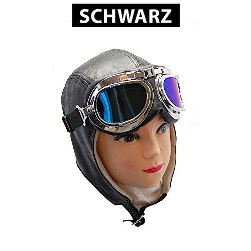 Cabriohaube Leder in Schwarz & Braun - Fliegermütze - Oldtimermütze + Panorama Brille (L, Schwarz)