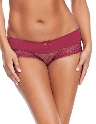 Parfait by Affinitas Casey Ruby Wine Red Boyshort Pant Shorty 2805 L