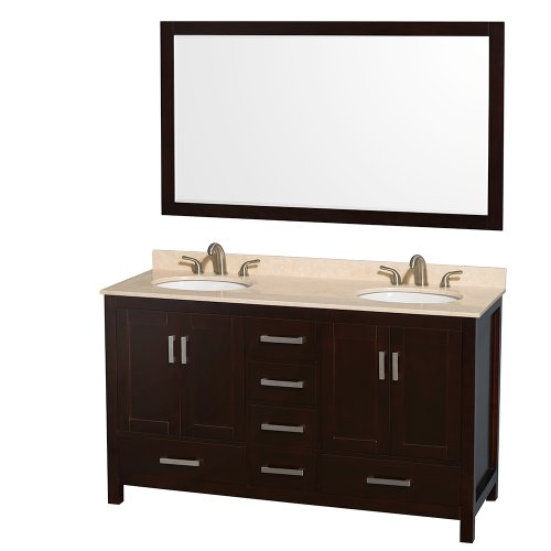 Wyndham Collection Sheffield 60 inch Double Bathroom Vanity in Espresso, Ivory Marble Countertop, Undermount Oval Sinks, and 58 inch (Ivory Marble Top)