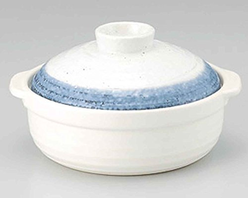 Ishime Nagori-Yuki for 2-3 persons 8.6inch Donabe Japanese Hot pot White Ceramic Made in Japan by Watou.asia