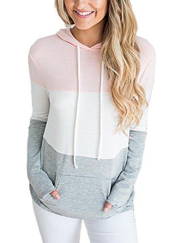 Lovezesent Women's Casual Loose Pullover Hoodies for Leggings Long Sleeve Drawstring Sweatshirts with Kangaroo Pocket for Teen Girls Pink Large