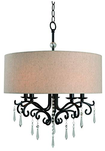 Kenroy Home Lucille 5 Light Chandelier Blackened Oil Rubbed Bronze Finish