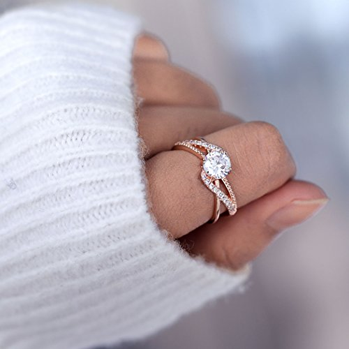 Barogirl Promise Ring Rose Gold Engagement Wedding Bands for Women Cubic Zirconia