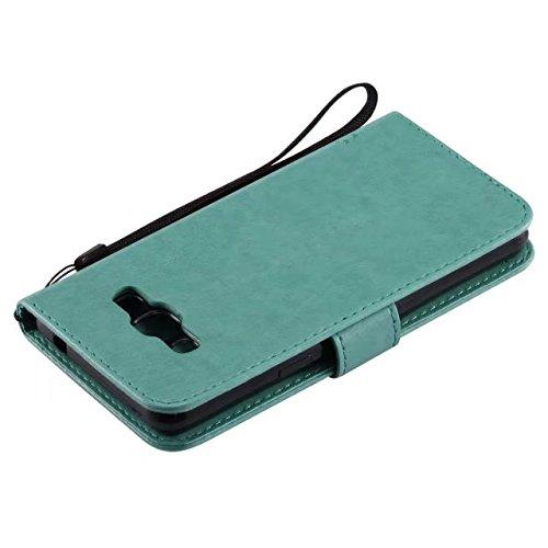 JIALUN-Personality teléfono shell Funda Samsung J3 PRO, caja de cuero PU color sólido flores en relieve Funda gato caja de silicona caja de silicona con correa de mano para Samsung J3 PRO Seguridad y  Green