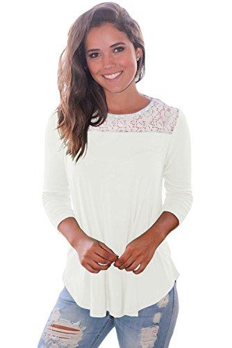 New bianco pizzo spalla Low Cut della camicetta estate camicia top casual Wear taglia UK 10EU 38