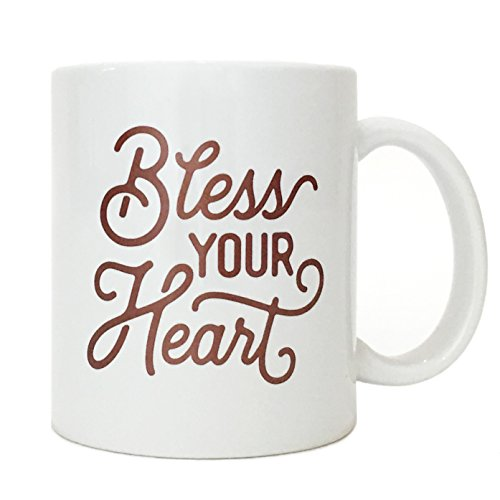 Bless Your Heart Mug Dark Pink Flourish Texas Themed Mug Souvenir Texas Gift with Gift (Flourish Mug)