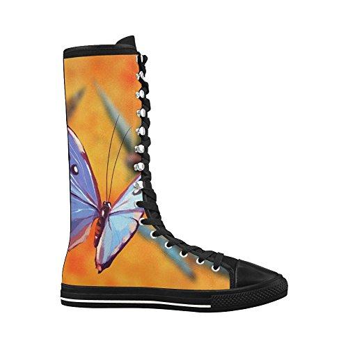 Leinterest Butterfly Lerret Lange Støvletter For Kvinner