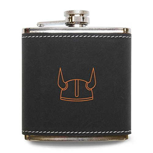 (MODERN GOODS SHOP Viking Helmet Flask - Stainless Steel Body With Grey Leather Cover - 6 Oz Leather Hip Flask - Made In USA)